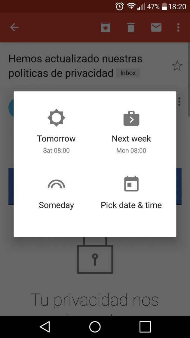 opciones snooze emails gmail