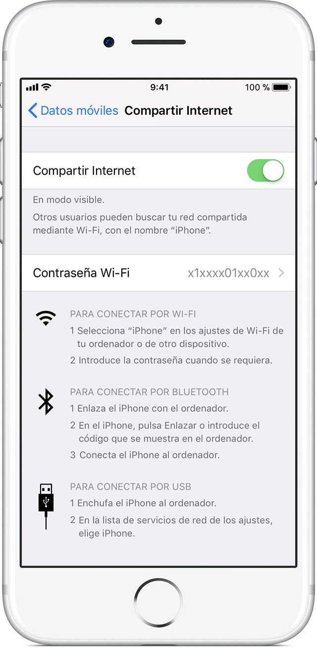 compartir datos móviles Internet iphone