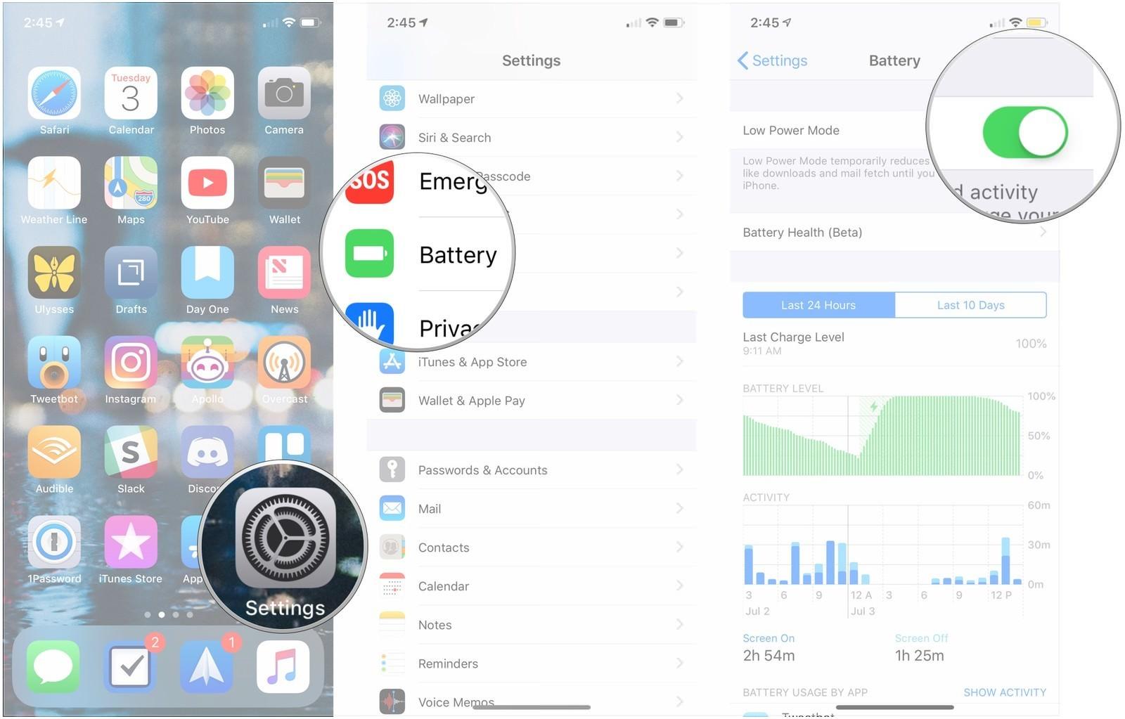 modo ahorro de batería iphone