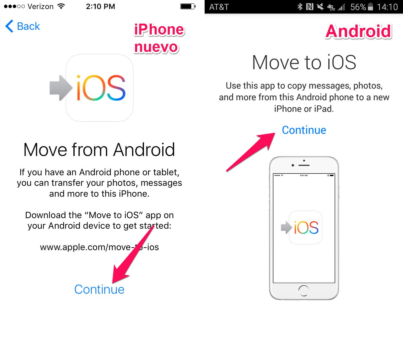 continuar move to ios