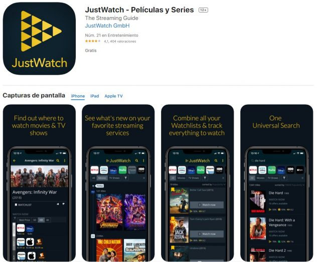 descargar app justwatch